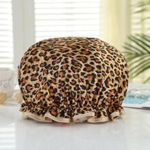 Leopard Print Waterproof Shower Cap