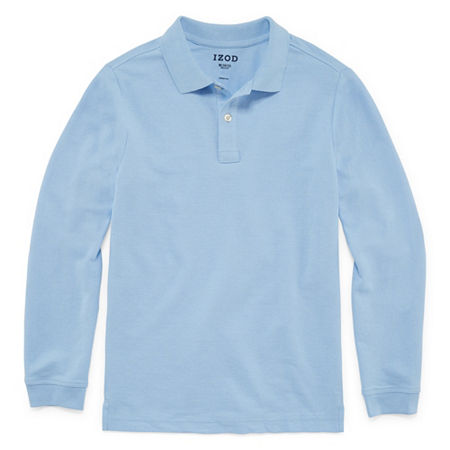 IZOD Pique Little & Big Boys Long Sleeve Stretch Polo Shirt, Large Husky , Blue