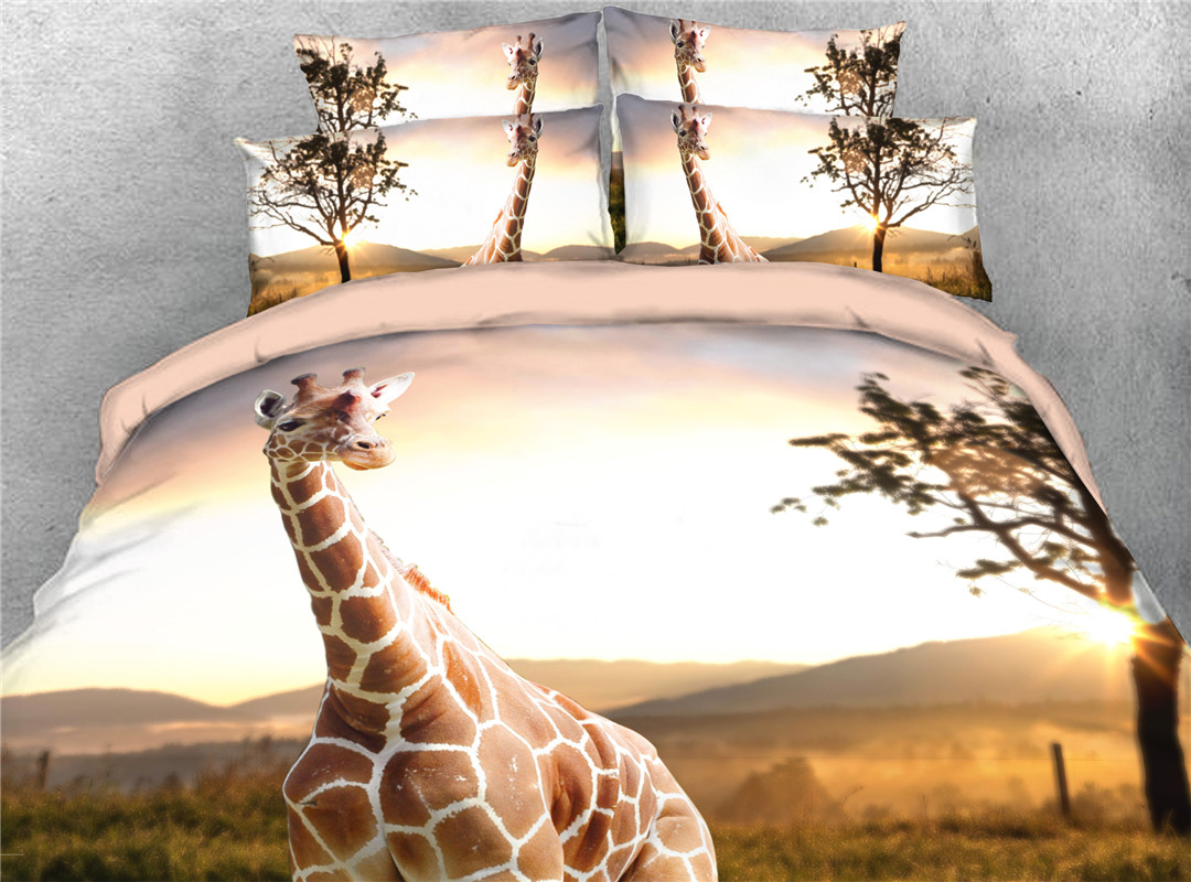 Giraffe In The Field Comforter Set Five-Piece Set Machine Wash Polyester Bedding Sets Machine Wash Polyester Bedding Sets No-fading Twin Full Queen Ki