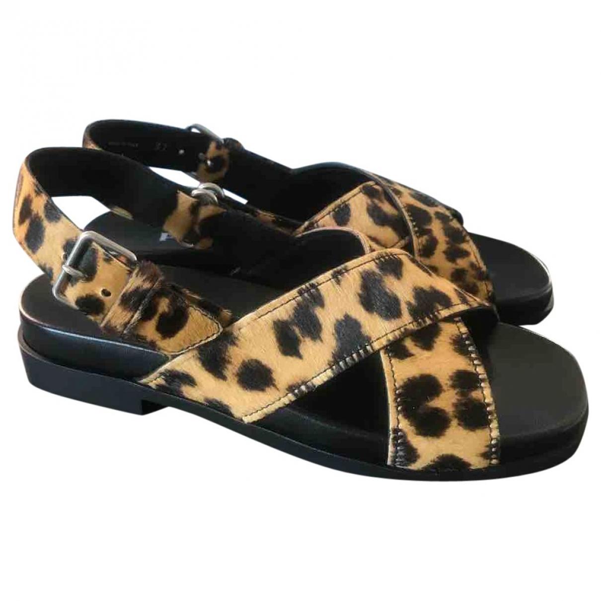 Prada \N Beige Pony-style calfskin Sandals for Women 37 IT