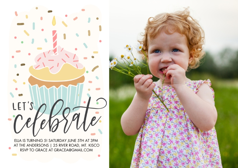 Kids Birthday Party 5x7 Cards, Premium Cardstock 120lb, Card & Stationery -Birthday Party Celebrate Cupcake by Tumbalina