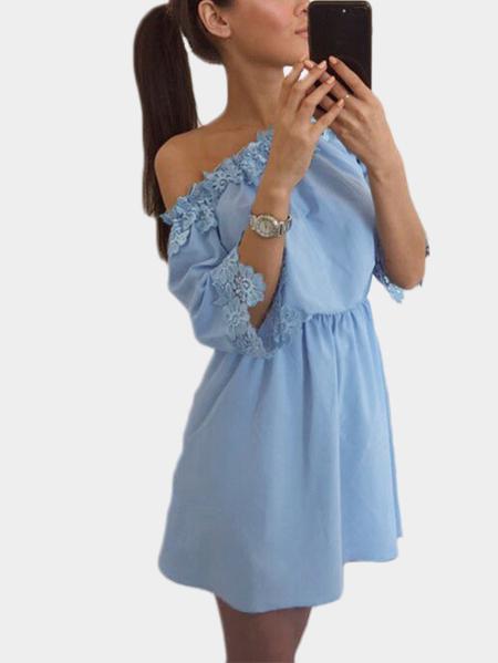 Yoins Light Blue Off-the-shoulder Lace Trim Mini Dress
