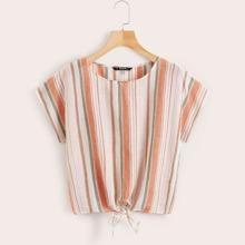 Button Back Tie Hem Colorful Striped Top