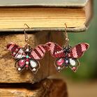 Bohemian Plaid Rinestone Butterfly Earrings