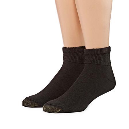 Gold Toe 2 Pair Non Binding Super Soft Quarter Socks - Men's, 10-13 , Black