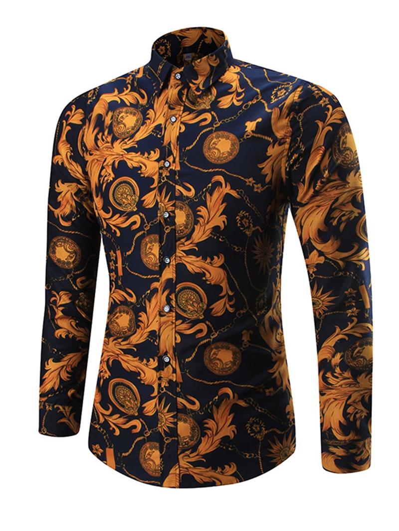 Ericdress Color Block Lapel Slim Fit Men's Shirt