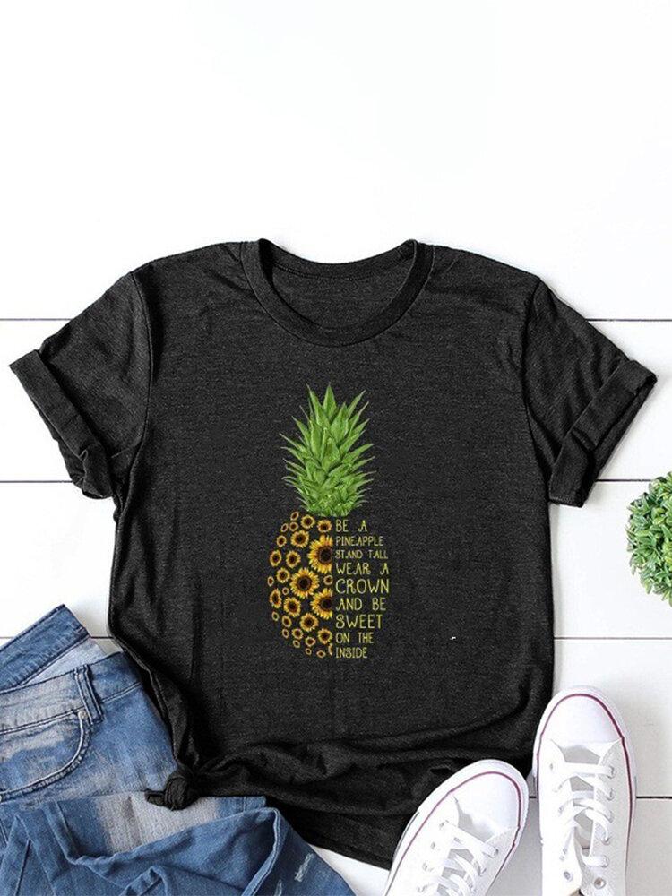 Pineapple Sunflower Printed Letters O-neck Short Sleeve T-shirt