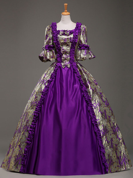 Milanoo Victorian Dress Costume Purple Queen Royal Court Bow Synthetic Half Sleeves Women's Ball Gown Victorian era Clothing Costumes For Women Hallow