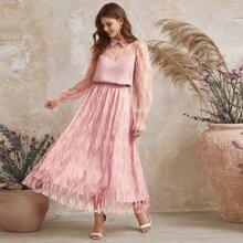 Sheer Yoke Flounce Sleeve Top and Lace Overlay Skirt Set