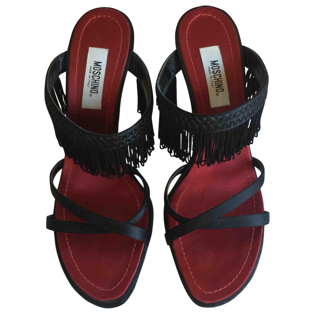 Moschino \N Black Leather Sandals for Women 37.5 IT