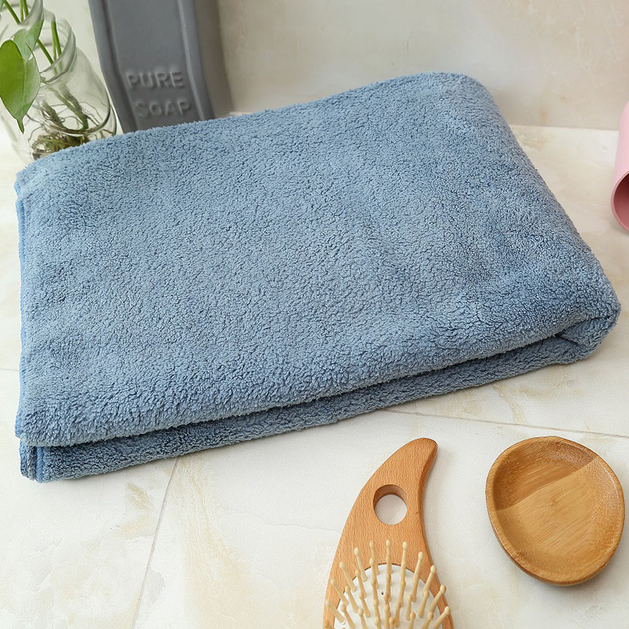 Japanese Style Coral Fleece Rectangular Plain Pattern Bath Towel