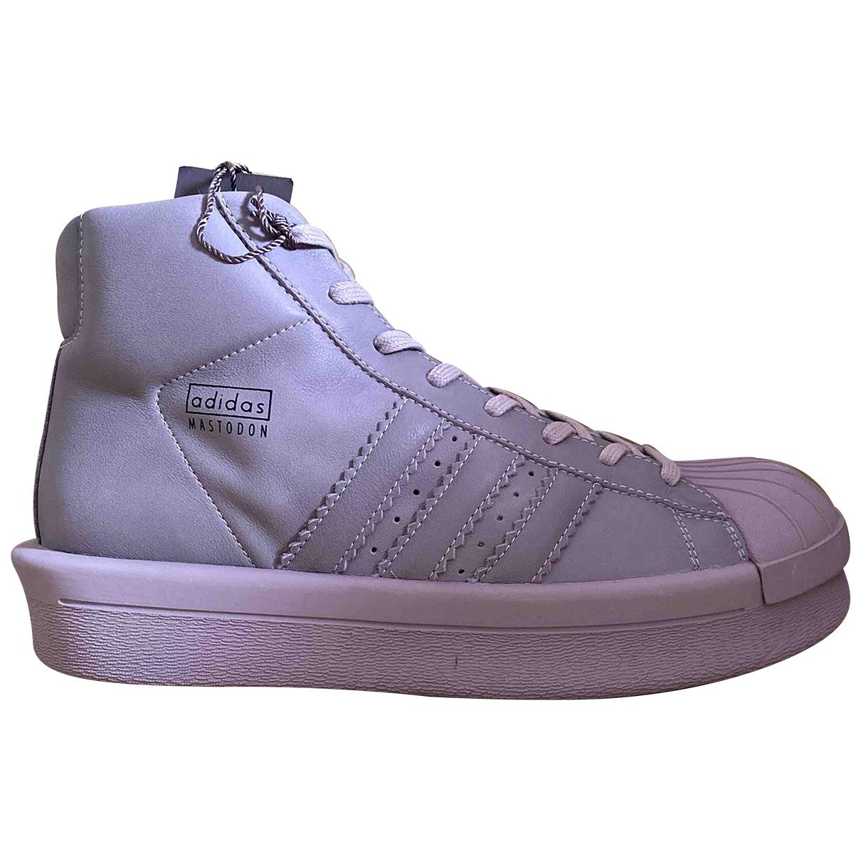 Adidas & Rick Owens \N Grey Leather Trainers for Men 42 EU