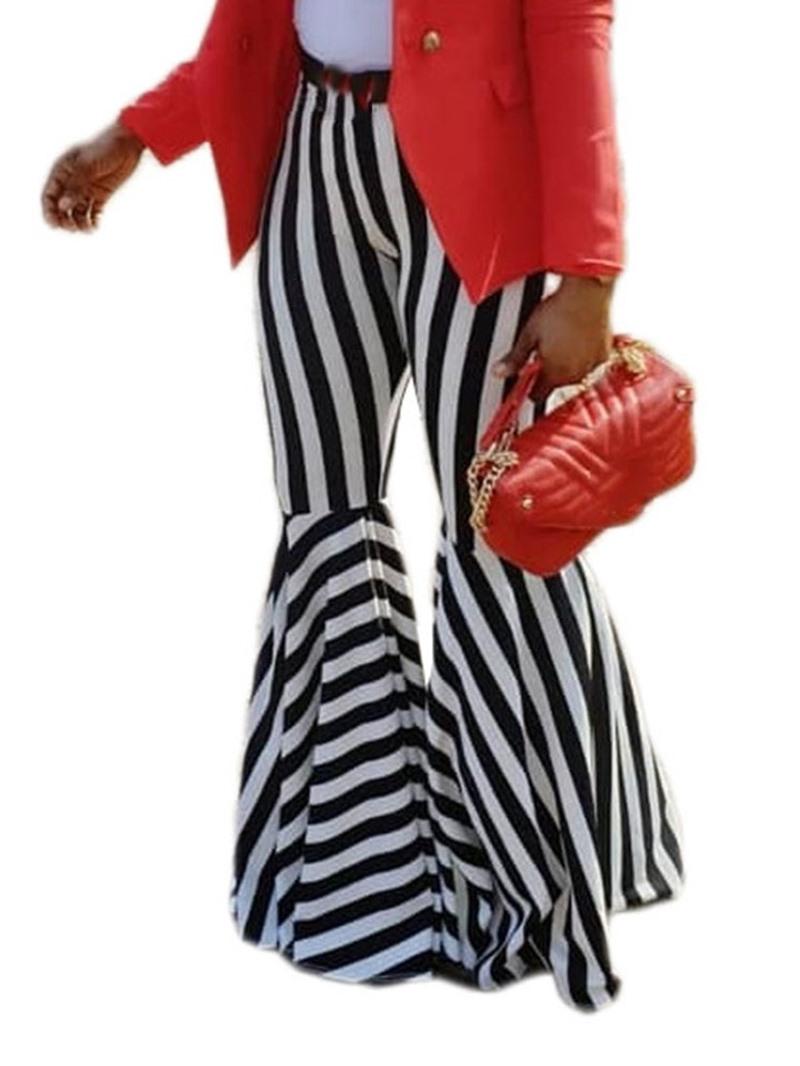 Ericdress Bellbottoms Print Slim Stripe Full Length Casual Pants