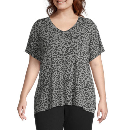 Ambrielle Womens Plus V Neck Pajama Top, 1x , Gray