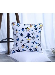 Blue Painting Five-pointed Star Pattern Polyester One Piece Decorative Square Throw Pillowcase