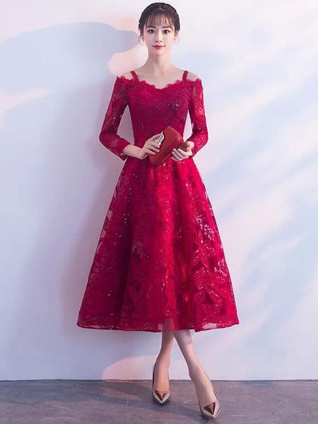 Milanoo Short Prom Dresses Burgundy Lace Graduation Dress Cold Shoulder Long Sleeve Tea Length Cocktail Dress