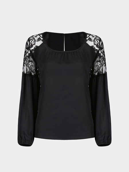 Yoins Chiffon Top with Lace Insert and Balloon Sleeve