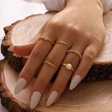 5pcs Rhinestone Decor Heart Decor Ring