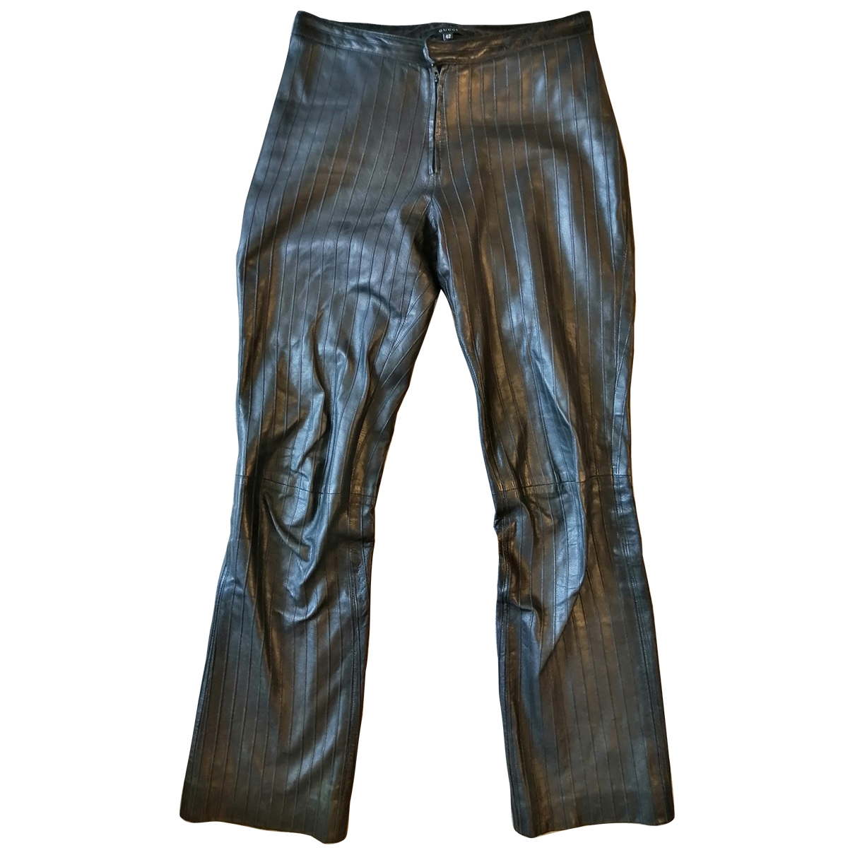 Gucci \N Black Leather Trousers for Women 42 FR