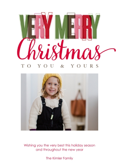 Christmas Photo Cards 5x7 Cards, Premium Cardstock 120lb with Rounded Corners, Card & Stationery -Vibrant Christmas