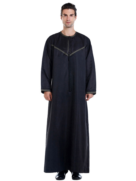 Milanoo Arabian Abaya Robe Jewel Collar Long Sleeve Men Clothing