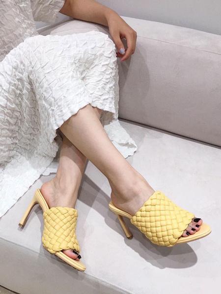 Milanoo High Heel Mules Women PU Leather Open Toe Sandal Mules