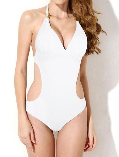 Milanoo One Piece Swimsuit Halter Nylon Metal Details Sexy Swimwear