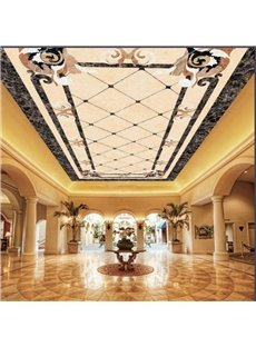 3D Floral Borders and Diamonds Pattern Waterproof Durable and Eco-friendly Ceiling Murals