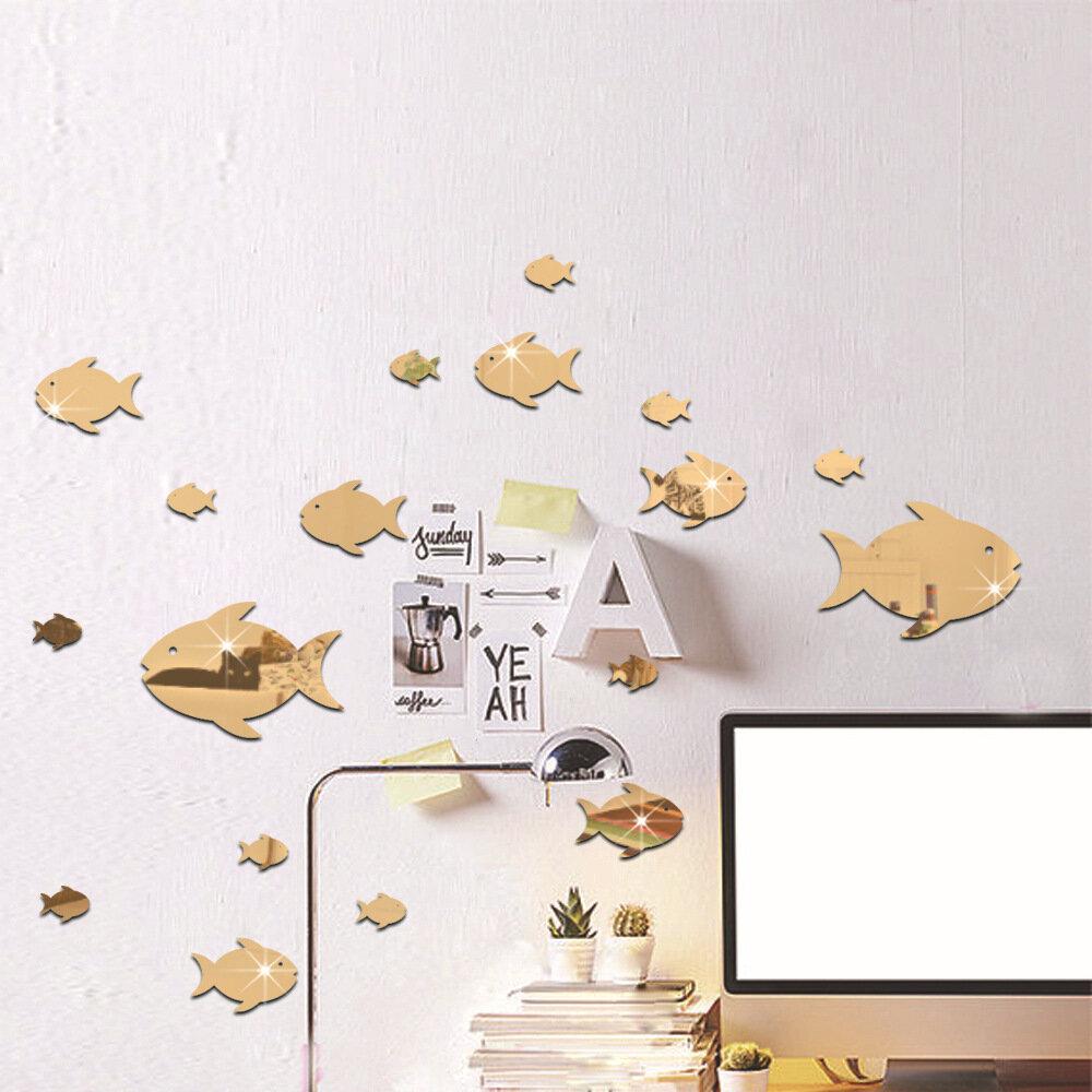 Bubble Fish Wall Sticker Ocean Fish Mirror Sticker Self Adhesive Acrylic Mirror Wall Sticker Suitable for Children's Roo