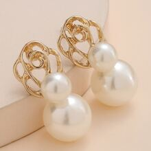 Faux Pearl Decor Earrings
