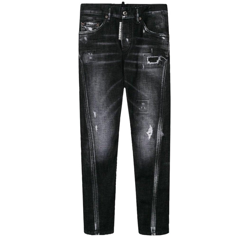 DSquared2 Kids Distressed Twist Jeans Colour: DARK GREY, Size: 14 YEAR