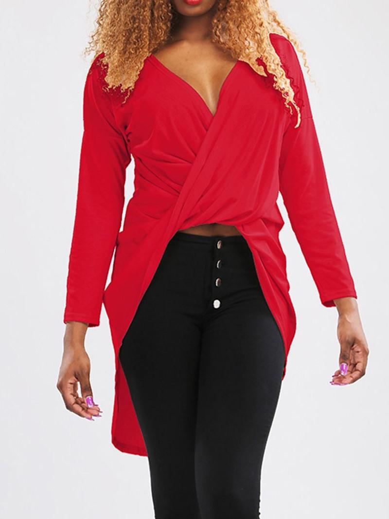Ericdress V-Neck Plain Regular Fashion Blouse