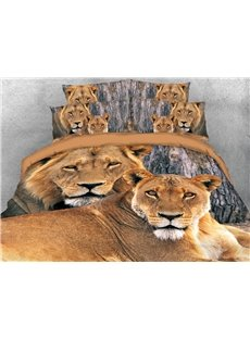 The Lion Couple With Love 3D Printed 4-Piece Polyester Bedding Sets/Duvet Covers
