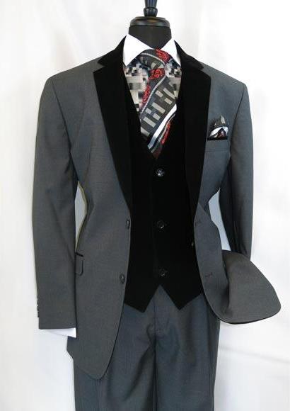 Men's Two Button Black Velour Notch Velvet Vested Side Vents Suit
