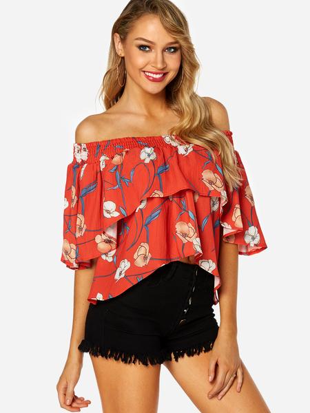 Yoins Red Tiered Design Random Floral Print Off Shoulder Blouse