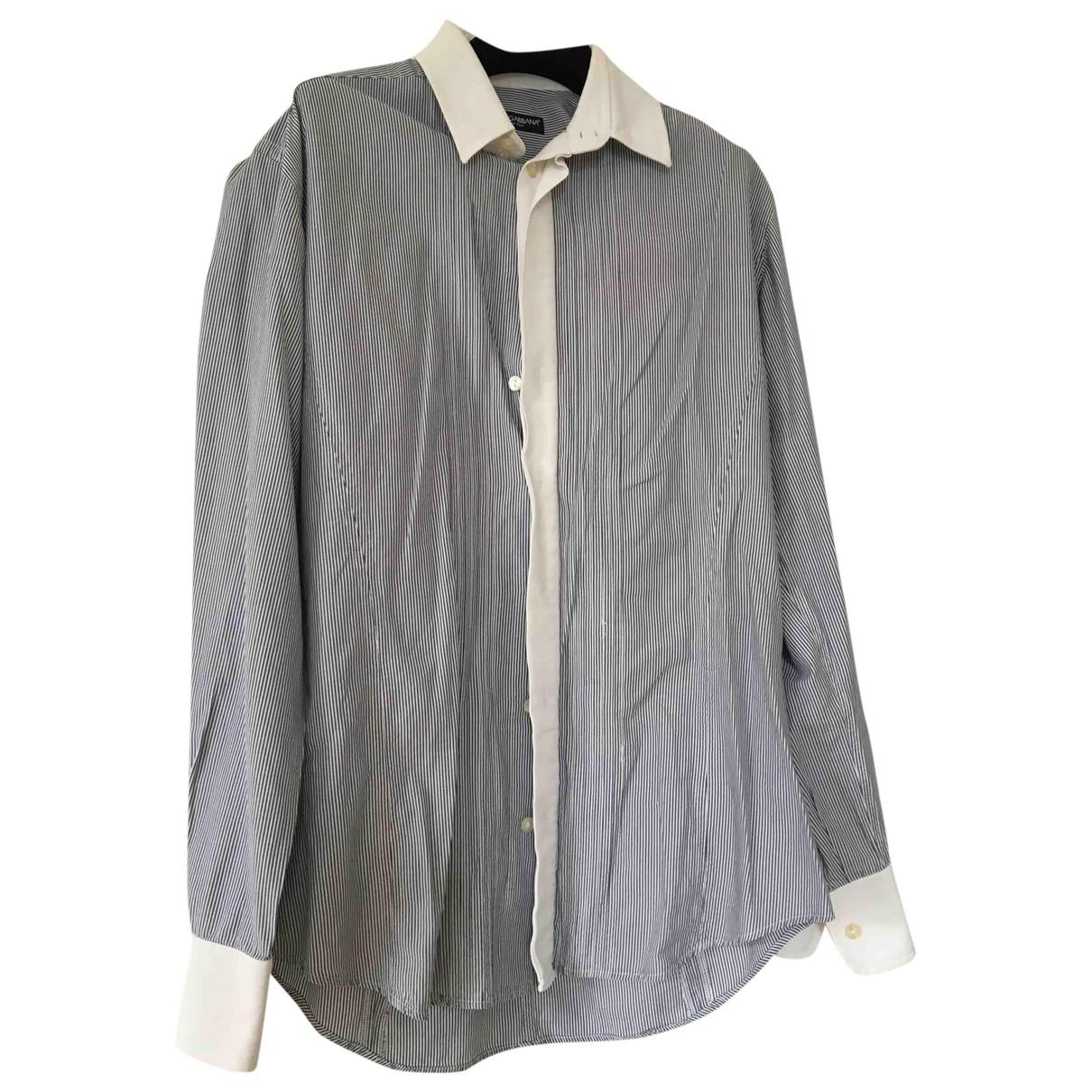 Dolce & Gabbana \N Blue Cotton Shirts for Men 39 EU (tour de cou / collar)