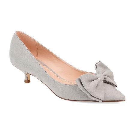 Journee Collection Womens Orana Pumps Slip-on Pointed Toe Kitten Heel, 8 1/2 Medium, Gray