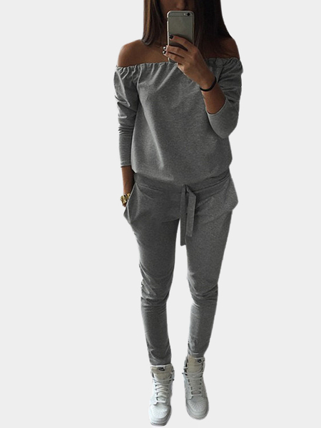 Yoins Grey Casual Off-shoulder Jumpsuit With Pockets