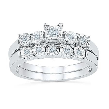 Womens Diamond Accent Genuine White Diamond Sterling Silver Bridal Set, 9 , No Color Family