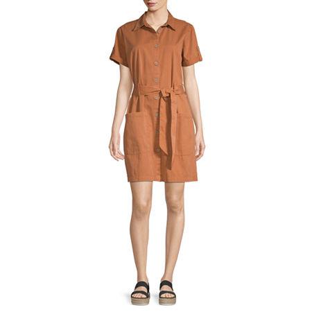 a.n.a Short Sleeve Shirt Dress, Medium , Brown