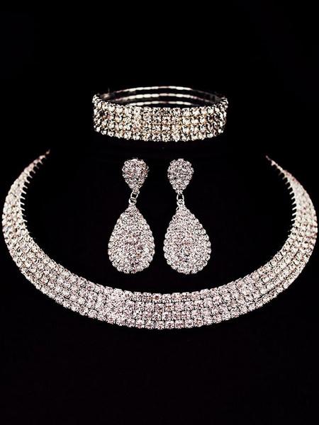 Milanoo Wedding Necklace Set Silver Drop Earrings Rhinestones Beaded Bangle Bracelet Bridal Jewelry Set