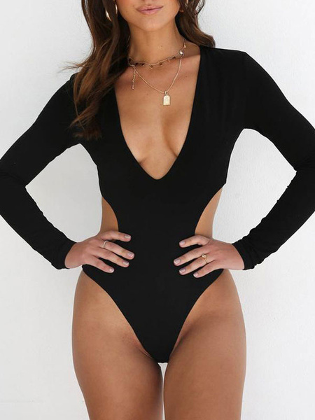 Milanoo One Piece Swimsuit Long Sleeve Plunging Cut Out Sexy Swimwear For Women