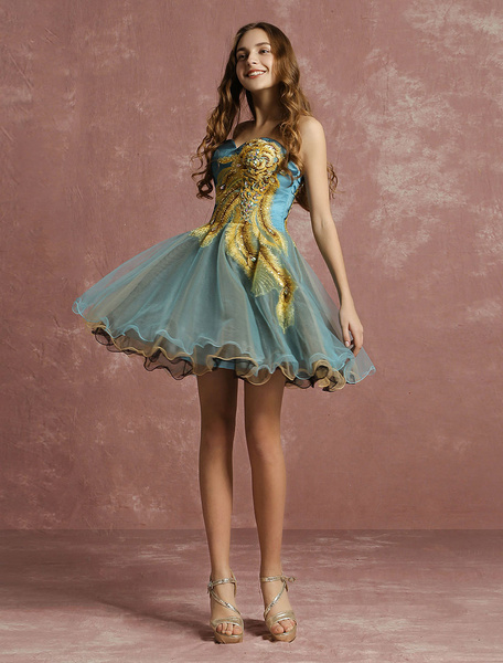 Milanoo Tulle Cocktail Dress Lace Beaded Prom Dress Sweetheart Strapless Sleeveless A Line Short Party Dress