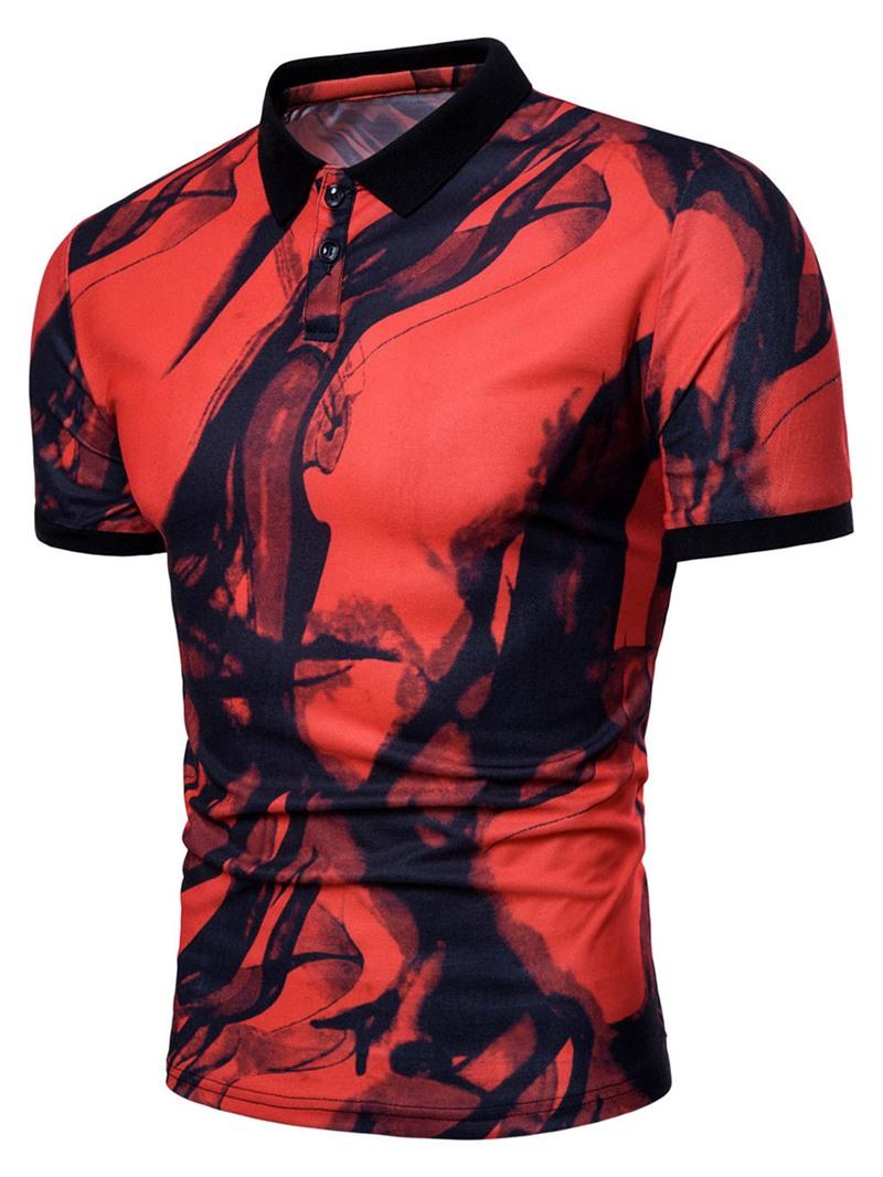 Ericdress Print Slim Fit Color Block Mens Short Sleeve T Shirt