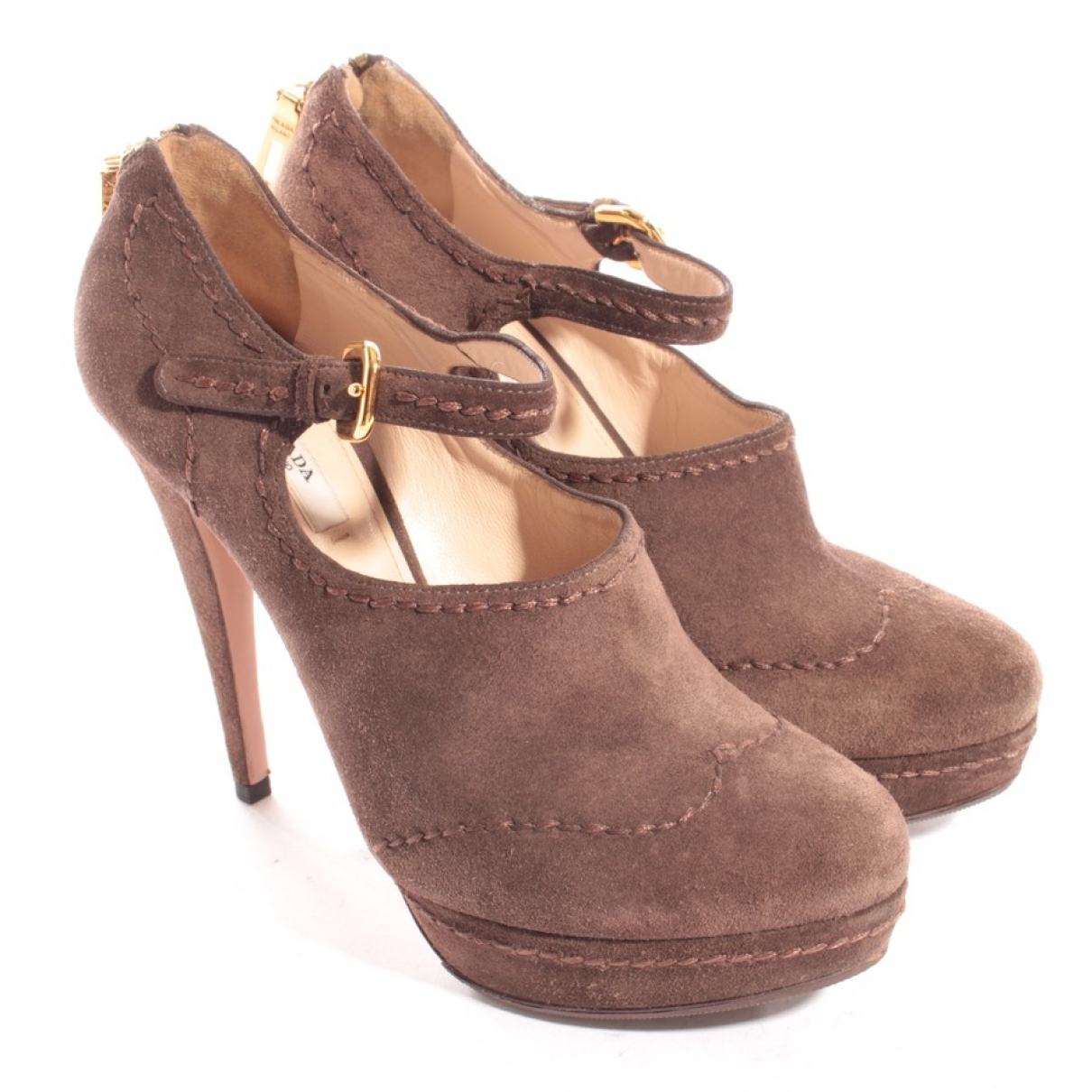 Prada \N Brown Leather Heels for Women 39.5 EU