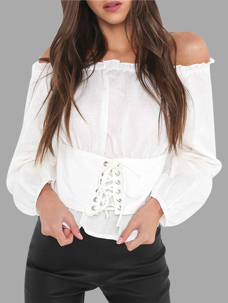 Yoins White Lace-up Off The Shoulder Lantern Sleeves Blouses