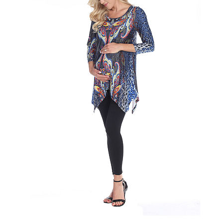 White Mark-Plus Maternity Arlene Womens Scoop Neck 3/4 Sleeve Tunic Top, 4x , Blue