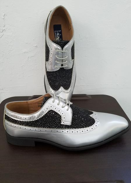 2 T1 Tie Up Style Silver Exotic Print Classic Spectator Dress Shoes