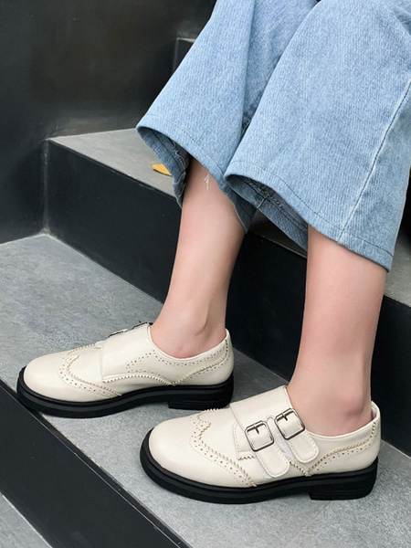 Milanoo Women White Loafers PU Leather Round Toe Buckle Detail Slip On Shoes