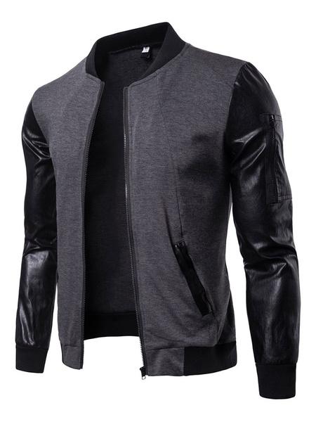 Milanoo Men Bomber Jacket Pu Patchwork Stand Collar Long Sleeve Short Jacket